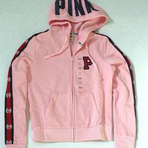 NWOT VS PINK Zip Hoodie Jacket Side Logo Tape XS
